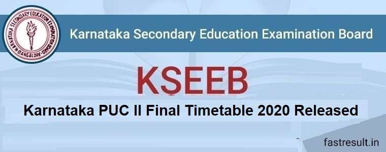 Karnataka PUC II Final Timetable 2020 Released