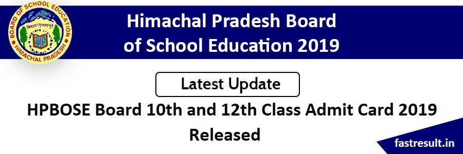 HPBOSE Board 10th and 12th Admit Card 2019 Released