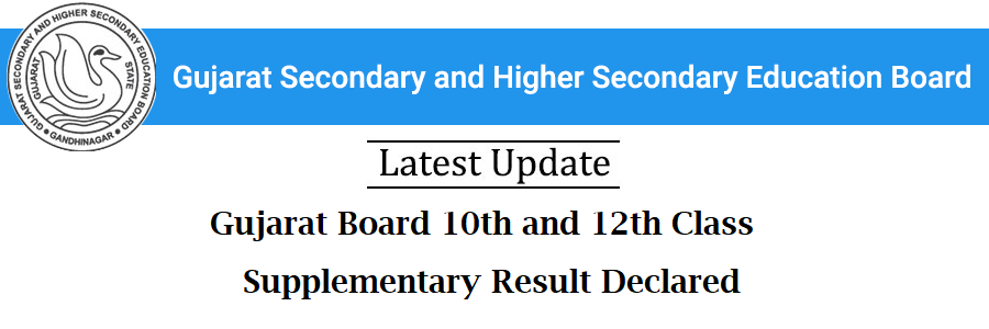 Gujarat Board 10th and 12th Class Supplementary Result Declared