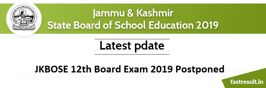 JKBOSE 12th Board Exam 2019 Postponed