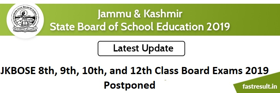 JKBOSE 8th, 9th, 10th, and 12th Class Board Exams 2019 Postponed
